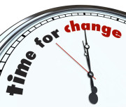 "une montre indiquant ""time for change"""